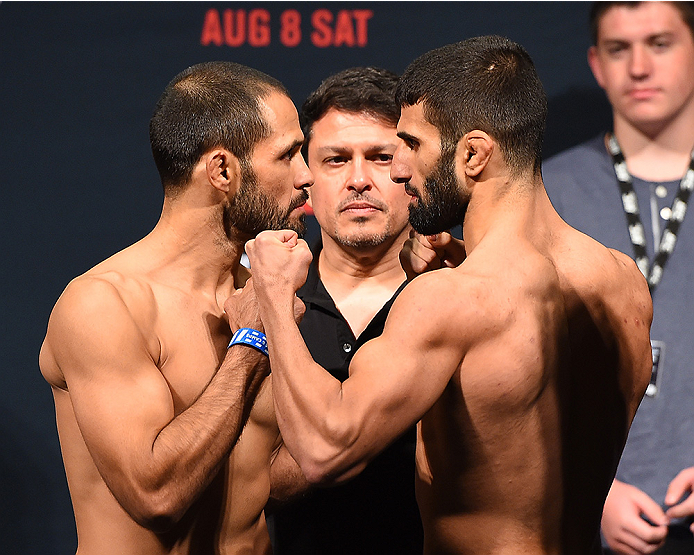 NASHVILLE, TN - AUGUST 07:  (L-R) Opponents Frankie Saenz and Sirwan Kakai face off during the UFC weigh-in at Bridgestone Arena on August 7, 2015 in Nashville, Tennessee.  (Photo by Josh Hedges/Zuffa LLC/Zuffa LLC via Getty Images)
