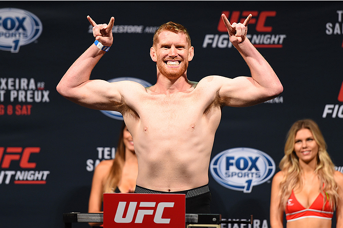 NASHVILLE, TN - AUGUST 07:  Sam Alvey steps on the scale during the UFC weigh-in at Bridgestone Arena on August 7, 2015 in Nashville, Tennessee.  (Photo by Josh Hedges/Zuffa LLC/Zuffa LLC via Getty Images)