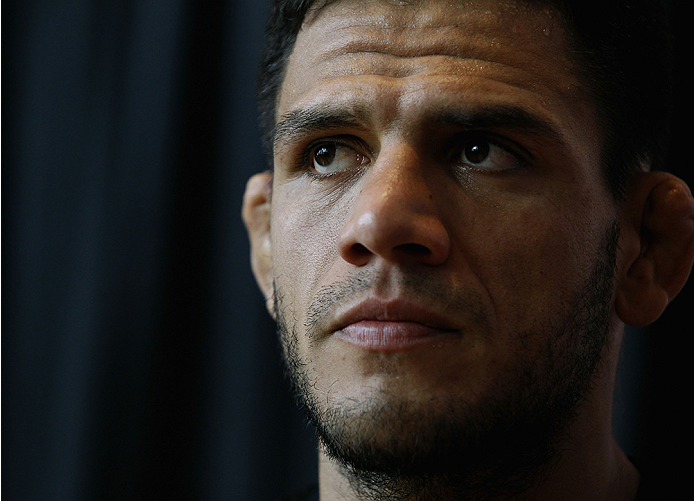 PHOENIX, AZ - DECEMBER 10:  Number 3-ranked UFC lightweight contender Rafael Dos Anjos looks on during UFC Fight Night open workouts at U.S. Airways Center on December 10, 2014 in Phoenix, Arizona.  (Photo by Ralph Freso/Zuffa LLC/Zuffa LLC via Getty Images)