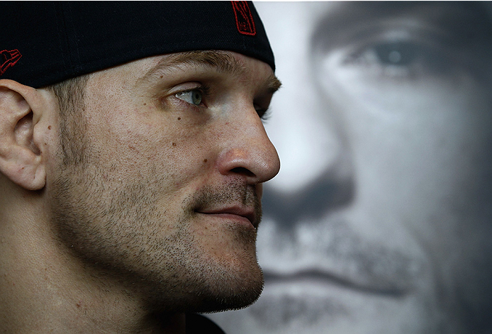 PHOENIX, AZ - DECEMBER 10:  Number 4-ranked UFC heavyweight contender Stipe Miocic looks on during UFC Fight Night open workouts at U.S. Airways Center on December 10, 2014 in Phoenix, Arizona.  (Photo by Ralph Freso/Zuffa LLC/Zuffa LLC via Getty Images)
