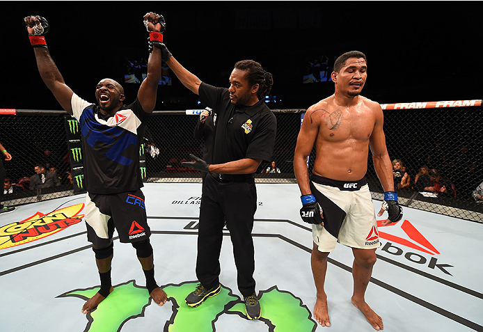 SAN DIEGO, CA - JULY 15:  (L-R) Kevin Casey celebrates his victory over Ildemar Alcantara of Brazil in their middleweight bout during the UFC event at the Valley View Casino Center on July 15, 2015 in San Diego, California. (Photo by Jeff Bottari/Zuffa LLC/Zuffa LLC via Getty Images)