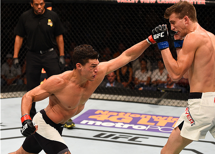 SAN DIEGO, CA - JULY 15:   (L-R) Alan Jouban punches Matt Dwyer of Canada in their welterweight bout during the UFC event at the Valley View Casino Center on July 15, 2015 in San Diego, California. (Photo by Jeff Bottari/Zuffa LLC/Zuffa LLC via Getty Images)