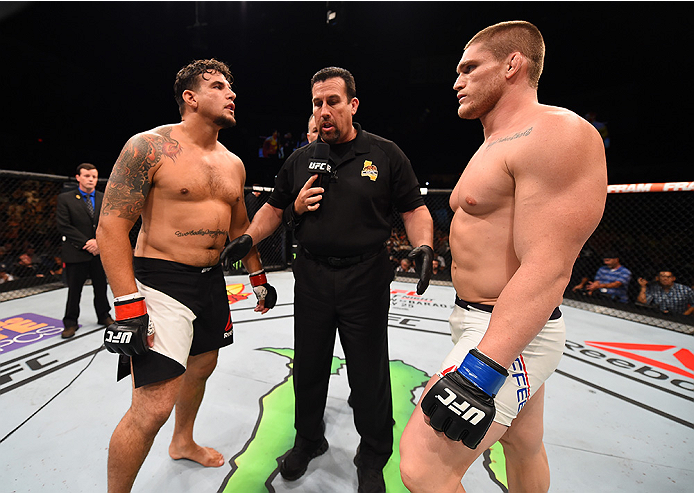 SAN DIEGO, CA - JULY 15:   (L-R) Frank Mir andTodd Duffee face off in their heavyweight bout during the UFC event at the Valley View Casino Center on July 15, 2015 in San Diego, California. (Photo by Jeff Bottari/Zuffa LLC/Zuffa LLC via Getty Images)