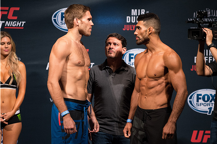 SAN DIEGO, CA - JULY 14:  (L-R) Andrew Craig and Lyman Good face-off during the UFC weigh-in at the Valley View Casino Center on July 14, 2015 in San Diego, California. (Photo by Jeff Bottari/Zuffa LLC/Zuffa LLC via Getty Images)