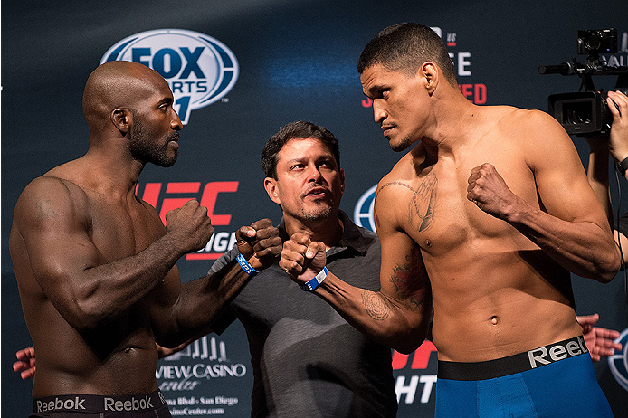 SAN DIEGO, CA - JULY 14:  (L-R) Kevin Casey and Igor Araujo of Brazil face-off during the UFC weigh-in at the Valley View Casino Center on July 14, 2015 in San Diego, California. (Photo by Jeff Bottari/Zuffa LLC/Zuffa LLC via Getty Images)