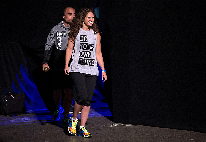 SAN DIEGO, CA - JULY 14:  Sarah Moras walks to the stage during the UFC weigh-in at the Valley View Casino Center on July 14, 2015 in San Diego, California. (Photo by Jeff Bottari/Zuffa LLC/Zuffa LLC via Getty Images)
