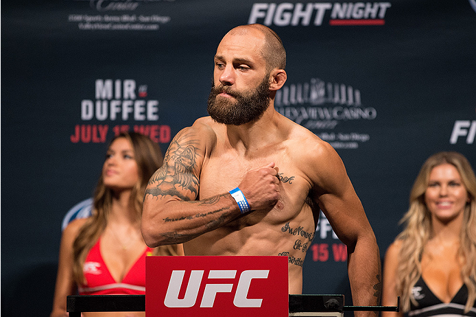 SAN DIEGO, CA - JULY 14:  Sam Sicilia steps on the scale during the UFC weigh-in at the Valley View Casino Center on July 14, 2015 in San Diego, California. (Photo by Jeff Bottari/Zuffa LLC/Zuffa LLC via Getty Images)