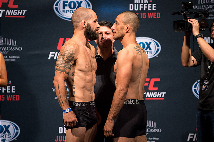SAN DIEGO, CA - JULY 14:  (L-R) Sam Sicilia and Yaotzin Meza face-off during the UFC weigh-in at the Valley View Casino Center on July 14, 2015 in San Diego, California. (Photo by Jeff Bottari/Zuffa LLC/Zuffa LLC via Getty Images)