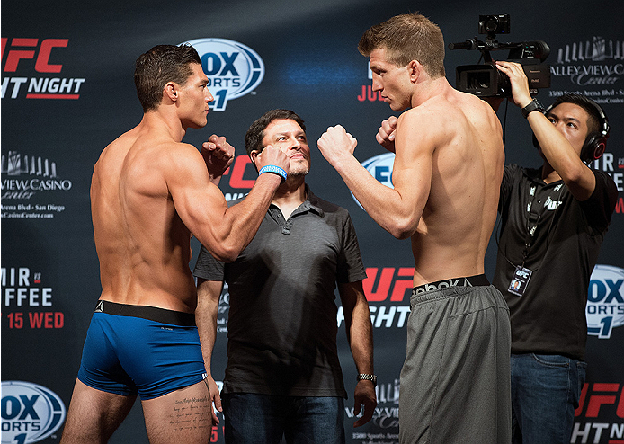 SAN DIEGO, CA - JULY 14:  (L-R) Alan Jouban and Matt Dwyer of Canada face-off during the UFC weigh-in at the Valley View Casino Center on July 14, 2015 in San Diego, California. (Photo by Jeff Bottari/Zuffa LLC/Zuffa LLC via Getty Images)