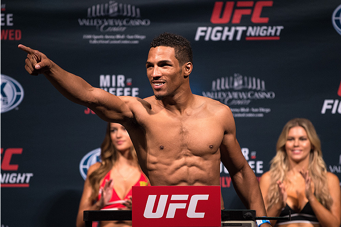SAN DIEGO, CA - JULY 14:  Kevin Lee interacts with the crowd during the UFC weigh-in at the Valley View Casino Center on July 14, 2015 in San Diego, California. (Photo by Jeff Bottari/Zuffa LLC/Zuffa LLC via Getty Images)