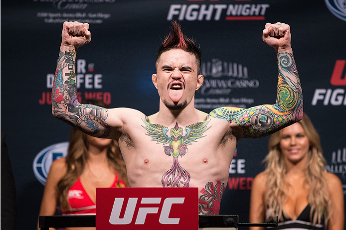 SAN DIEGO, CA - JULY 14:  Scott Jorgensen steps on the scale during the UFC weigh-in at the Valley View Casino Center on July 14, 2015 in San Diego, California. (Photo by Jeff Bottari/Zuffa LLC/Zuffa LLC via Getty Images)