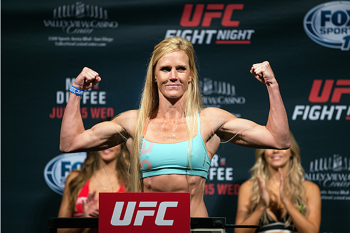 SAN DIEGO, CA - JULY 14:  Holly Holm steps on the scale during the UFC weigh-in at the Valley View Casino Center on July 14, 2015 in San Diego, California. (Photo by Jeff Bottari/Zuffa LLC/Zuffa LLC via Getty Images)