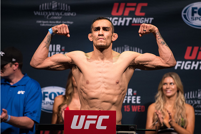 SAN DIEGO, CA - JULY 14:  Tony Ferguson steps on the scale during the UFC weigh-in at the Valley View Casino Center on July 14, 2015 in San Diego, California. (Photo by Jeff Bottari/Zuffa LLC/Zuffa LLC via Getty Images)