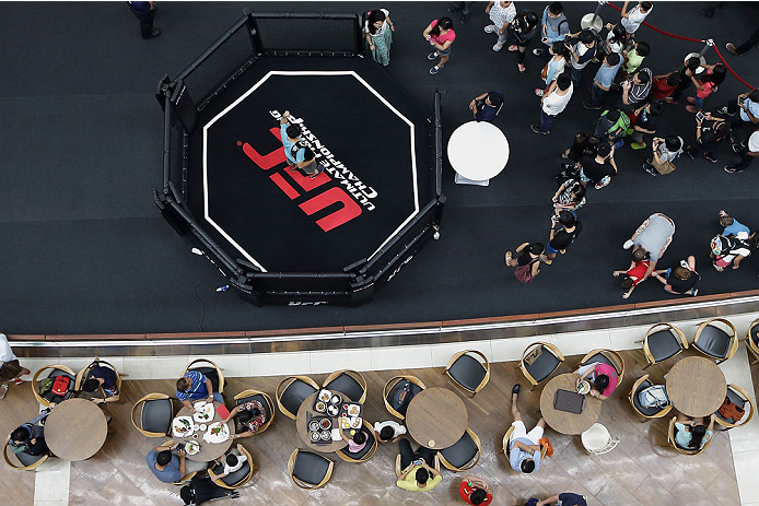 SINGAPORE - JANUARY 01:  Fans pose for a photo with a replica of the UFC championship belt in a mini octagon ring during the UFC Fight Night Singapore Open Workouts at the Skating Rink at The Shoppes at Marina Bay Sand on January 1, 2014 in Singapore.  (Photo by Suhaimi Abdullah/Zuffa LLC via Getty Images)