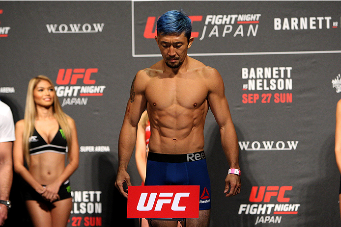 SAITAMA, JAPAN - SEPTEMBER 25: Mizuto Hirota during the UFC weigh-in at the Saitama Super Arena on September 25, 2015 in Saitama, Japan. (Photo by Mitch Viquez/Zuffa LLC/Zuffa LLC via Getty Images)