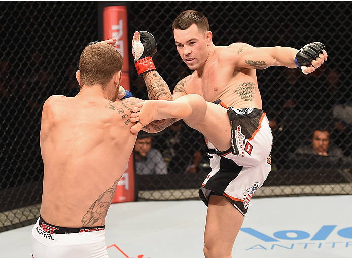 UBERLANDIA, BRAZIL - NOVEMBER 08: Colby Covington of the United States kicks Wagner Silva of Brazil in their welterweight bout during the UFC Fight Night at Sabiazinho Gymnasium on November 8, 2014 in Uberlandia, Brazil. (Photo by Buda Mendes/Zuffa LLC/Zuffa LLC via Getty Images)