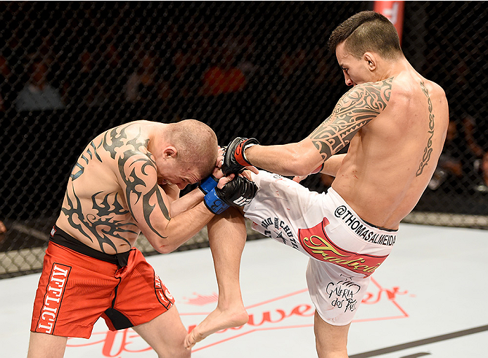 Thomas Almeida of Brazil kicks Tim Gorman of the United States in their bantanweight bout during the UFC Fight Night at Sabiazinho Gymnasium on November 8, 2014 in Uberlandia, Brazil. (Photo by Buda Mendes/Zuffa LLC)