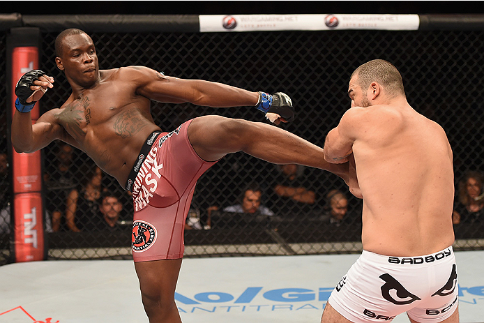 Ovince Saint Preux of the United States kicks Mauricio Shogun Rua of Brazil in their light heavyweight bout during the UFC Fight Night at Sabiazinho Gymnasium on November 8, 2014 in Uberlandia, Brazil. (Photo by Buda Mendes/Zuffa LLC)