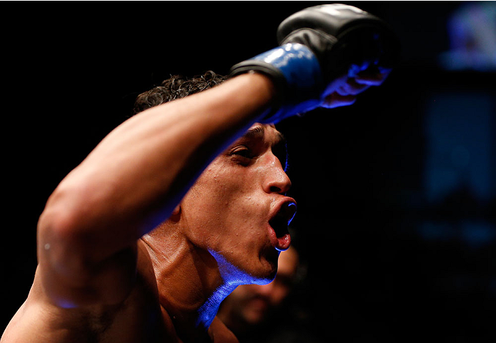 Charles Oliveira reacts after his submission victory over Hatsu Hioki in their featherweight fight during the UFC Fight Night event at Vector Arena on June 28, 2014 in Auckland, New Zealand. (Photo by Josh Hedges/Zuffa LLC)