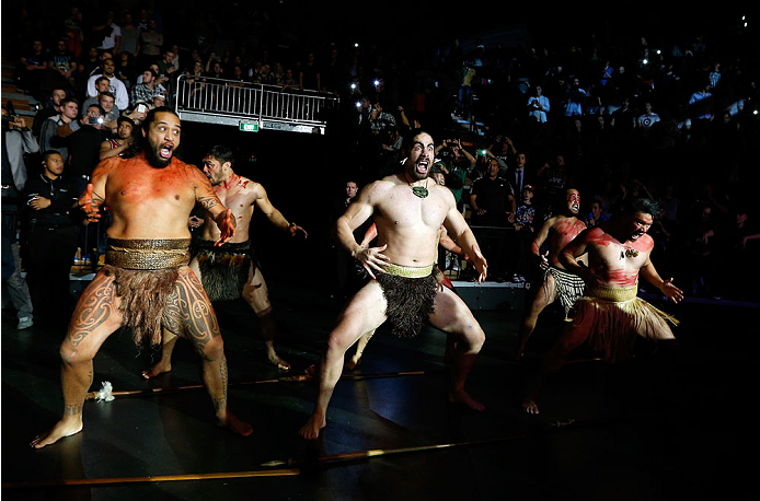 AUCKLAND, NEW ZEALAND - JUNE 28:  Dancers perform the Haka as James Te Huna enters the arena before his middleweight fight against Nate Marquardt during the UFC Fight Night event at Vector Arena on June 28, 2014 in Auckland, New Zealand.  (Photo by Josh Hedges/Zuffa LLC/Zuffa LLC via Getty Images)