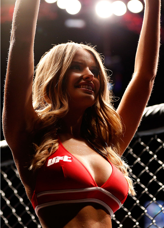 AUCKLAND, NEW ZEALAND - JUNE 28:  UFC Octagon Girl Kahili Blundell introduces a round during the UFC Fight Night event at Vector Arena on June 28, 2014 in Auckland, New Zealand.  (Photo by Josh Hedges/Zuffa LLC/Zuffa LLC via Getty Images)