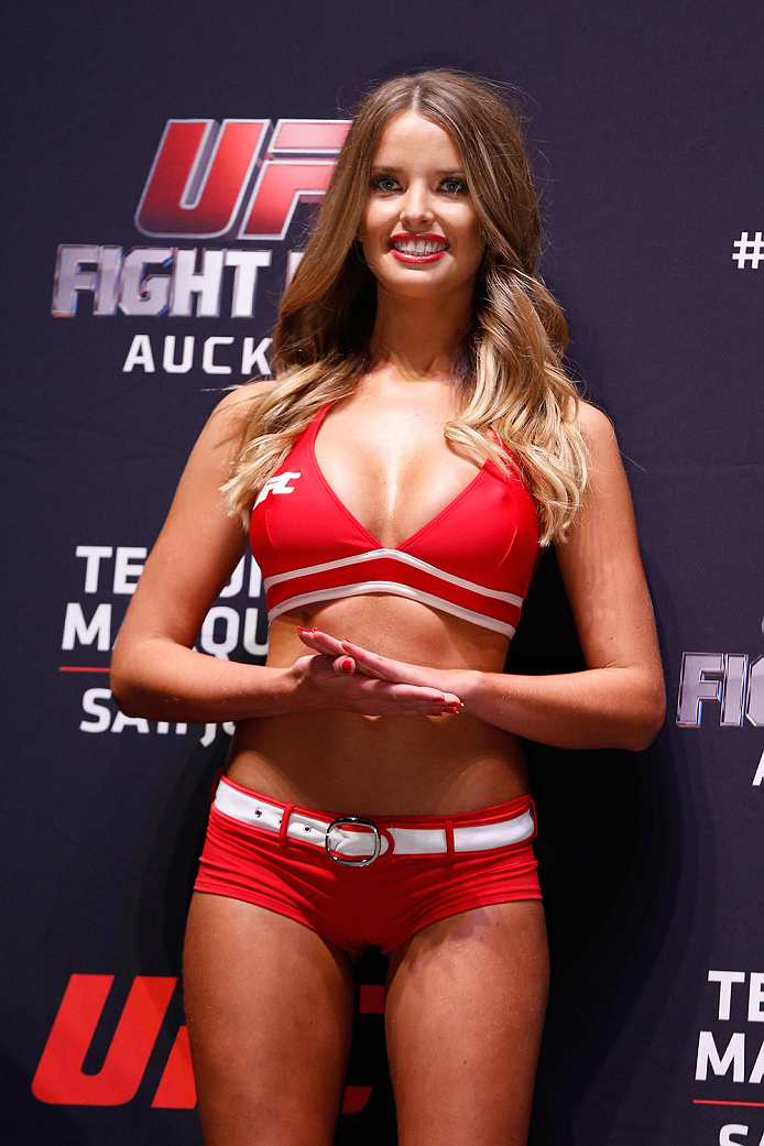 AUCKLAND, NEW ZEALAND - JUNE 27:  UFC Octagon Girl Kahili Blundell stands on stage during the UFC weigh-in at Vector Arena on June 27, 2014 in Auckland, New Zealand.  (Photo by Josh Hedges/Zuffa LLC/Zuffa LLC via Getty Images)