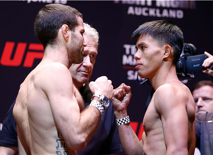 AUCKLAND, NEW ZEALAND - JUNE 27:  (L-R) Opponents Richie Vaculik and Roldan Sangcha-an face off during the UFC weigh-in at Vector Arena on June 27, 2014 in Auckland, New Zealand.  (Photo by Josh Hedges/Zuffa LLC/Zuffa LLC via Getty Images)