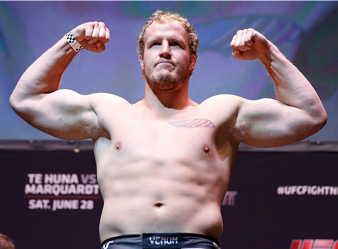 AUCKLAND, NEW ZEALAND - JUNE 27:  Jared Rosholt weighs in during the UFC weigh-in at Vector Arena on June 27, 2014 in Auckland, New Zealand.  (Photo by Josh Hedges/Zuffa LLC/Zuffa LLC via Getty Images)