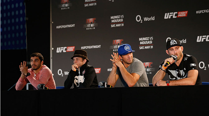 BERLIN, GERMANY - MAY 30:  Ramsey Nijem, Brad Pickett, Luke Rockhold and Alexander Gustafsson answer questions of the media after the UFC weigh-in at O2 World on May 30, 2014 in Berlin, Germany.  (Photo by Boris Streubel/Zuffa LLC/Zuffa LLC via Getty Images)