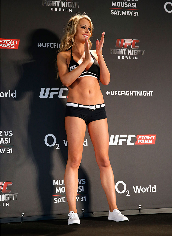 BERLIN, GERMANY - MAY 30:  Octagon Girl Carly Baker attends the UFC weigh-in at O2 World on May 30, 2014 in Berlin, Germany.  (Photo by Boris Streubel/Zuffa LLC/Zuffa LLC via Getty Images)
