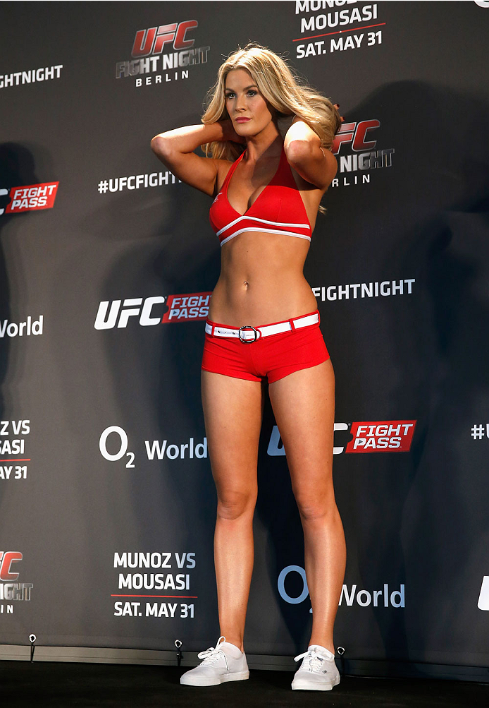 BERLIN, GERMANY - MAY 30:  Octagon Girl Kristie McKeon attends the UFC weigh-in at O2 World on May 30, 2014 in Berlin, Germany.  (Photo by Boris Streubel/Zuffa LLC/Zuffa LLC via Getty Images)