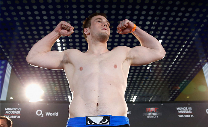 BERLIN, GERMANY - MAY 30:  Viktor Pesta poses on the scale during the UFC weigh-in at O2 World on May 30, 2014 in Berlin, Germany.  (Photo by Boris Streubel/Zuffa LLC/Zuffa LLC via Getty Images)