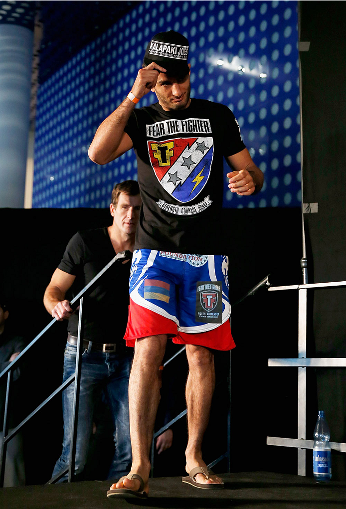 BERLIN, GERMANY - MAY 30:  Gegard Mousasi comes to the stage during the UFC weigh-in at O2 World on May 30, 2014 in Berlin, Germany.  (Photo by Boris Streubel/Zuffa LLC/Zuffa LLC via Getty Images)