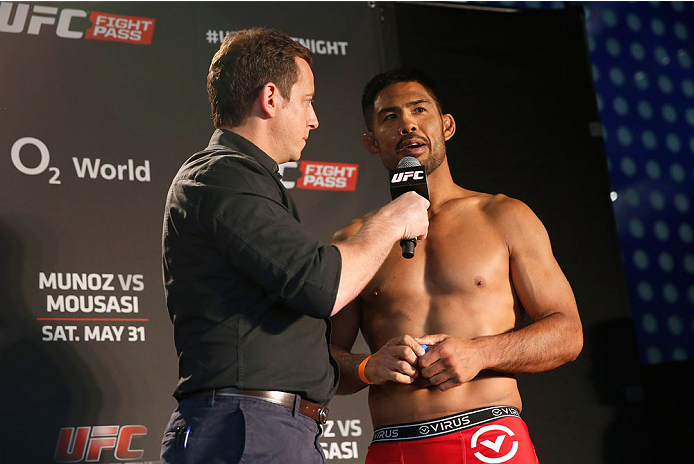 BERLIN, GERMANY - MAY 30:  Mark Munoz (R) gives an interview after the UFC weigh-in at O2 World on May 30, 2014 in Berlin, Germany.  (Photo by Boris Streubel/Zuffa LLC/Zuffa LLC via Getty Images)