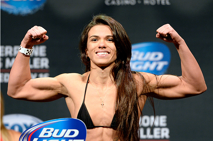 ATLANTIC CITY, NJ - JULY 15:  Claudia Gadelha steps on the scale during the UFC Fight Night weigh-in at Revel Casino on July 15, 2014 in Atlantic City, New Jersey.  (Photo by Jeff Bottari/Zuffa LLC/Zuffa LLC via Getty Images)