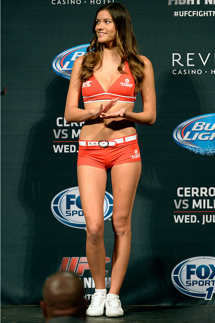 ATLANTIC CITY, NJ - JULY 15:  UFC Octagon Girl Vanessa Hanson stands on stage during the UFC Fight Night weigh-in at Revel Casino on July 15, 2014 in Atlantic City, New Jersey.  (Photo by Jeff Bottari/Zuffa LLC/Zuffa LLC via Getty Images)