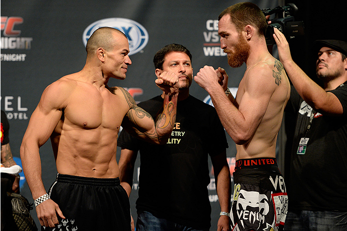 ATLANTIC CITY, NJ - JULY 15:  Gleison Tibau (L) and Pat Healy face off during the UFC Fight Night weigh-in at Revel Casino on July 15, 2014 in Atlantic City, New Jersey.  (Photo by Jeff Bottari/Zuffa LLC/Zuffa LLC via Getty Images)