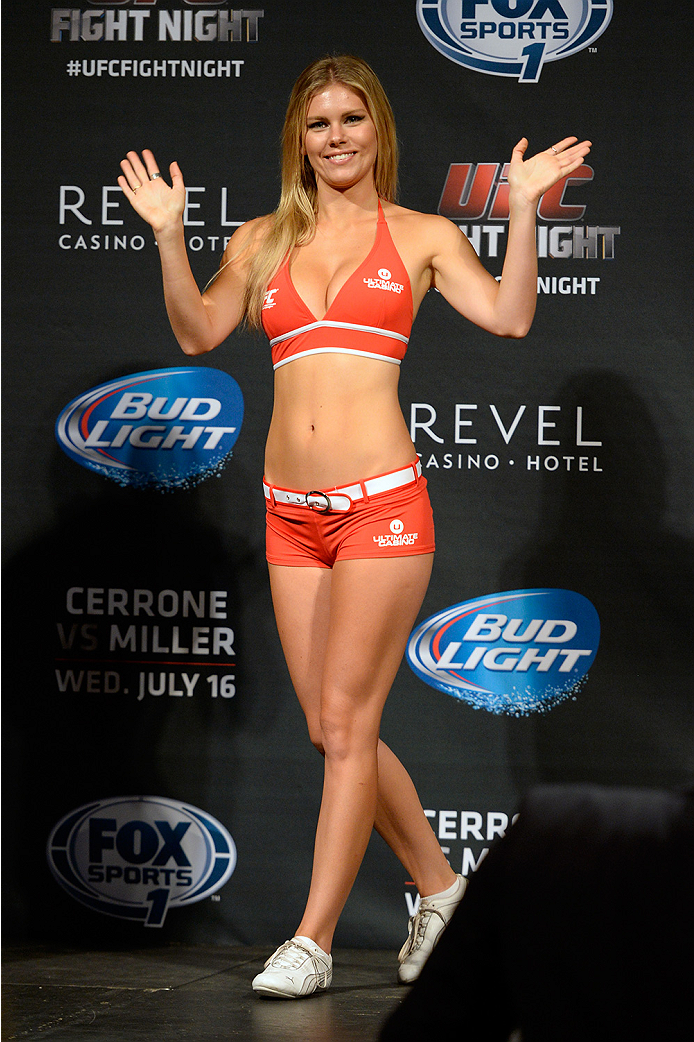 ATLANTIC CITY, NJ - JULY 15:  UFC Octagon Girl Chrissy Blair waves to the crowd during the UFC Fight Night weigh-in at Revel Casino on July 15, 2014 in Atlantic City, New Jersey.  (Photo by Jeff Bottari/Zuffa LLC/Zuffa LLC via Getty Images)