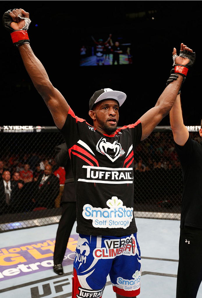 CINCINNATI, OH - MAY 10:  Neil Magny reacts after his decision victory over Tim Means in their welterweight fight during the UFC Fight Night event at the U.S. Bank Arena on May 10, 2014 in Cincinnati, Ohio. (Photo by Josh Hedges/Zuffa LLC/Zuffa LLC via Getty Images)