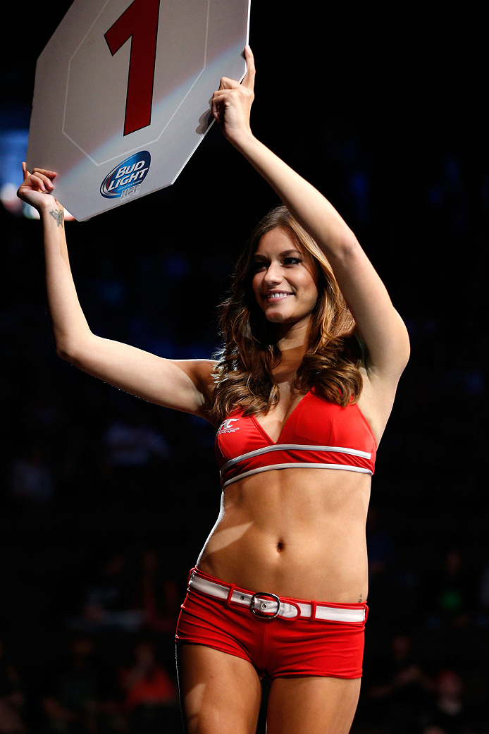 CINCINNATI, OH - MAY 10:  UFC Octagon Girl Vanessa Hanson introduces a round during the UFC Fight Night event at the U.S. Bank Arena on May 10, 2014 in Cincinnati, Ohio. (Photo by Josh Hedges/Zuffa LLC/Zuffa LLC via Getty Images)