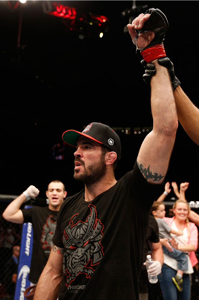 CINCINNATI, OH - MAY 10:  Matt Brown reacts after his TKO victory over Erick Silva in their welterweight fight during the UFC Fight Night event at the U.S. Bank Arena on May 10, 2014 in Cincinnati, Ohio. (Photo by Josh Hedges/Zuffa LLC/Zuffa LLC via Getty Images)