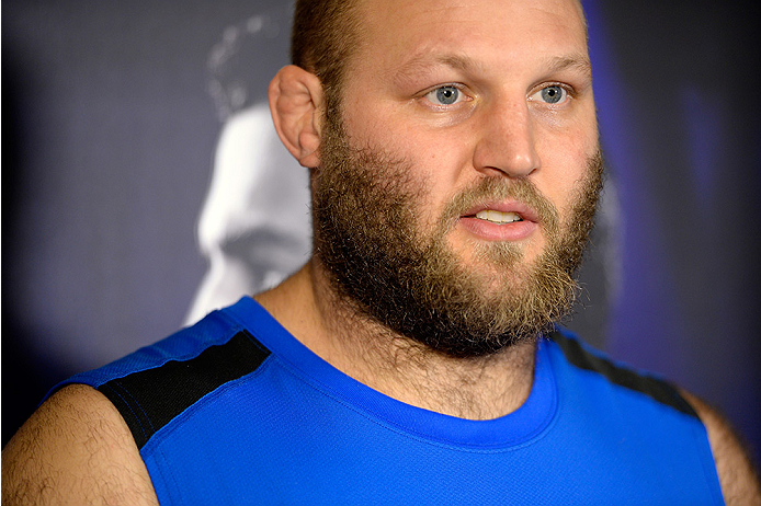 MASHANTUCKET, CT - SEPTEMBER 3:  Ben Rothwell speaks to reporters during a media availability at the Foxwoods Resort Casino on September 3, 2014 in Mashantucket, Connecticut. (Photo by Jeff Bottari/Zuffa LLC/Zuffa LLC via Getty Images)