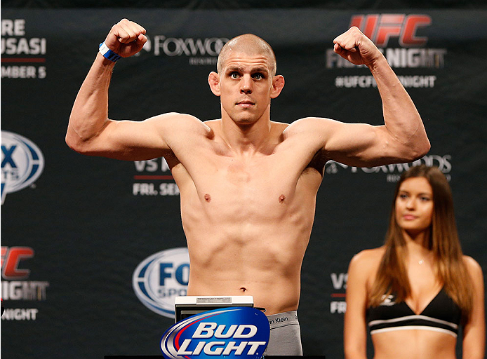 MASHANTUCKET, CT - SEPTEMBER 04:  Joe Lauzon weighs in during the UFC Fight Night weigh-in at Foxwoods Resort Casino on September 4, 2014 in Mashantucket, Connecticut.  (Photo by Josh Hedges/Zuffa LLC/Zuffa LLC via Getty Images)