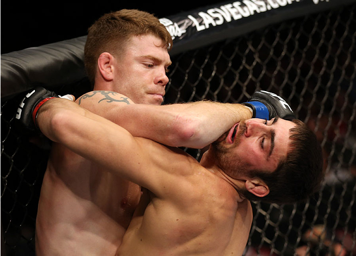 Paul Felder lands an elbow to the chin of Jason Saggo of Canada in their lightweight bout at the Scotiabank Centre on October 4, 2014 in Halifax, Nova Scotia, Canada. (Photo by Nick Laham/Zuffa LLC)