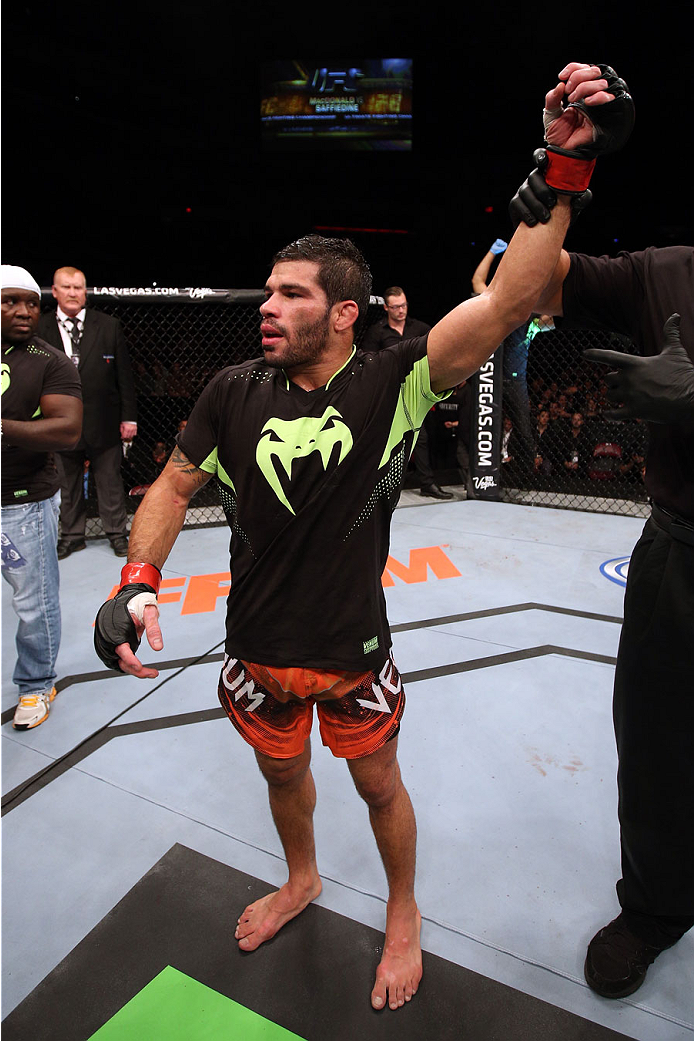HALIFAX, NS - OCTOBER 4:  Raphael Assuncao of Brazil celebrates after defeating Bryan Caraway in their bantamweight bout at the Scotiabank Centre on October 4, 2014 in Halifax, Nova Scotia, Canada. (Photo by Nick Laham/Zuffa LLC/Zuffa LLC via Getty Images)