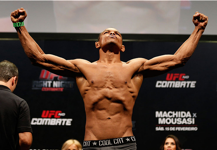 JARAGUA DO SUL, BRAZIL - FEBRUARY 14:  Francisco Trinaldo weighs in during the UFC weigh-in at Arena Jaragua on February 14, 2014 in Jaragua do Sul, Santa Catarina, Brazil. (Photo by Josh Hedges/Zuffa LLC/Zuffa LLC via Getty Images)