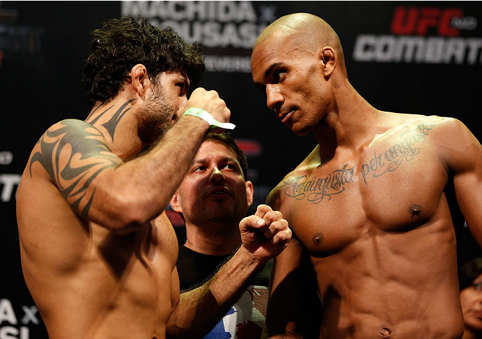 JARAGUA DO SUL, BRAZIL - FEBRUARY 14:  (L-R) Opponents Viscardi Andrade and Nicholas Musoke face off during the UFC weigh-in at Arena Jaragua on February 14, 2014 in Jaragua do Sul, Santa Catarina, Brazil. (Photo by Josh Hedges/Zuffa LLC/Zuffa LLC via Getty Images)