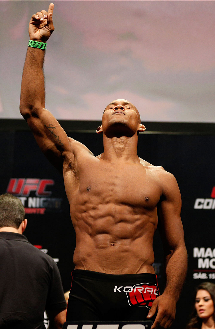 "JARAGUA DO SUL, BRAZIL - FEBRUARY 14:  Ronaldo ""Jacare"" Souza weighs in during the UFC weigh-in at Arena Jaragua on February 14, 2014 in Jaragua do Sul, Santa Catarina, Brazil. (Photo by Josh Hedges/Zuffa LLC/Zuffa LLC via Getty Images)"