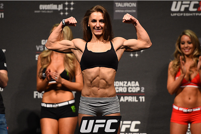 KRAKOW, POLAND - APRIL 10:  Alexandra Albu weighs in during the UFC Fight Night weigh-in at the Tauron Arena on April 10, 2015 in Krakow, Poland. (Photo by Jeff Bottari/Zuffa LLC/Zuffa LLC via Getty Images)