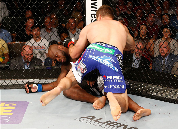 MASHANTUCKET, CT - SEPTEMBER 05:  Matt Mitrione knocks out Derrick Lewis in their heavyweight bout during the UFC Fight Night event at Foxwoods Resort Casino on September 5, 2014 in Mashantucket, Connecticut.  (Photo by Josh Hedges/Zuffa LLC/Zuffa LLC via Getty Images)